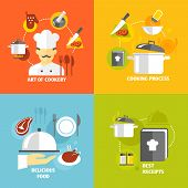 stock photo of decorative  - Art of cookery cooking process delicious food best recipes decorative icons set isolated vector illustration - JPG
