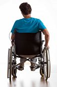 pic of handicap  - Rear view of handicapped man in wheelchair - JPG