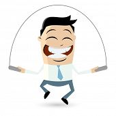 pic of skipping rope  - funny businessman is skipping rope - JPG