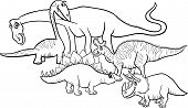 stock photo of apatosaurus  - Black and White Cartoon Illustration of Funny Prehistoric Dinosaurs Characters Group for Coloring Book - JPG