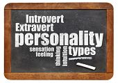 stock photo of personality  - personality types word cloud on a vintage blackboard - JPG