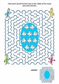 stock photo of game-fish  - Maze game and coloring activity page for kids - JPG