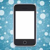 foto of smart grid  - Smart phone on a background lattice social network - JPG