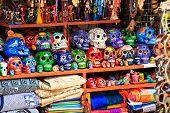 stock photo of playa del carmen  - Colorful skulls souvenirs in Playa del Carmen Mexico - JPG