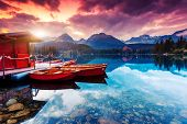 foto of mountain-high  - Peaceful mountain lake in National Park High Tatra - JPG