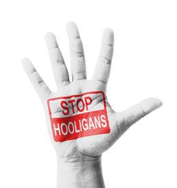 picture of hooligan  - Open hand raised Stop Hooligans  - JPG