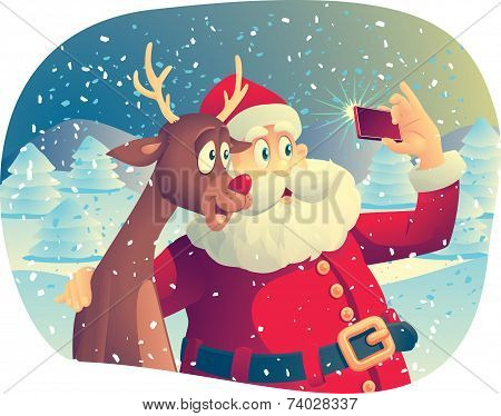 Santa Claus and the Reindeer Taking a Photo Together poster