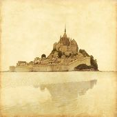 foto of mont saint michel  - Old style photo of Mont Saint Michel - JPG