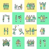 stock photo of chat  - Friends and friendly relationship flat line icons set with people chatting present party isolated vector illustration - JPG