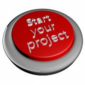 stock photo of start over  - Start your project words on button 3d render isolated over white - JPG