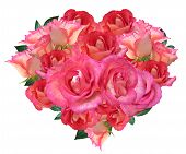 image of i love you mom  - Heart made of roses isolated on white background  - JPG