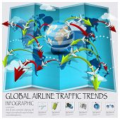 picture of passport template  - World Map Of Global Airline Traffic Trends Infographic Design Template - JPG