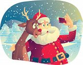 stock photo of selfie  - Vector cartoon of Santa Claus and his best friend taking a Christmas picture together - JPG