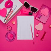 picture of girly  - Girly pink desktop and stationery with blank notebook and pencil - JPG