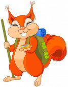 stock photo of clip-art staff  - Illustration of cute squirrel walks to camping - JPG