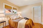 picture of ivory  - Warm bedroom interior with light color walls and hardwood floor - JPG