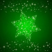 foto of starry  - Green starry background with Christmas star illustration - JPG