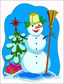 foto of snowmen  - Funny snowman in Christmas tree with gifts - JPG