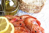 picture of tiger prawn  - Australian cooked King prawns on a glass plate - JPG