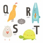 stock photo of zoo  - Cute vector zoo alphabet with cartoon animals isolated on white background - JPG