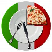 picture of italian flag  - Concept of Italian pizza with white plate and under plate colored with the colors of Italian flag slice of pizza and silver cutlery isolated on white background - JPG