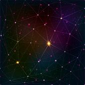 image of cosmic  - Abstract vector triangle grid on cosmic background - JPG