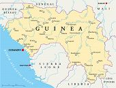 stock photo of guinea  - Guinea Political Map with capital Conakry - JPG