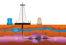 stock photo of groundwater  - illustration of a drilling extraction hydraulic fracturing of shale gas for geothermal sustainable energy - JPG