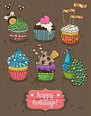 picture of cupcakes  - Cute happy holidays card with cupcakes - JPG