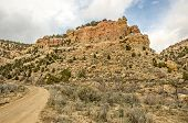foto of sagebrush  - Dirt road winding its way to the ghost town of Spring Canyon in Carbon County - JPG
