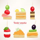 pic of canapes  - Set of six kinds of festive snacks - JPG