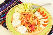 stock photo of green papaya salad  - Green Papaya Salad with Salted Eggs - JPG