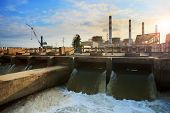 stock photo of chp  - scene of Thermal electric Power Plant and cool down water flowing to river good corperated and safe nature environment - JPG