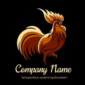 pic of black-cock  - Company logo template with fire cock - JPG