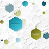 stock photo of hexagon  - Abstract geometric background with color hexagons - JPG