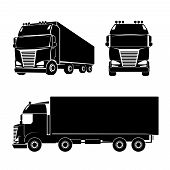 image of truck-cabin  - Black silhouette truck logo icon - JPG