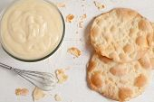 picture of custard  - Custard cream on white vintage background - JPG