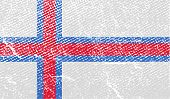 foto of faroe islands  - Flag of Faroe Islands with old texture - JPG