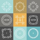 foto of logo  - Vector set of trendy logo design elements in mono line style  - JPG