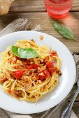 image of pasta  - Tasty pasta on a plate - JPG