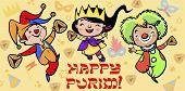 foto of fancy-dress  - Happy jewish children in fancy dress dance and enjoy Purim - JPG