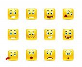 pic of angry smiley  - Set of yellow smileys square of twelve pieces - JPG