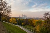 pic of gory  - View of Moscow in the autumn evening at sunset from Vorobyovy Gory - JPG