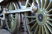 image of train-wheel  - Large wheels on a British steam train - JPG