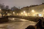 stock photo of sankt-peterburg  - Lion pedestrian bridge above Griboedov channel in Sankt - JPG