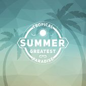 picture of beach party  - Retro summer vintage label on colorful background - JPG
