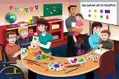 stock photo of handicap  - A vector illustration of handicapped students in a classroom - JPG