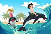 stock photo of dolphin  - A vector illustration of happy children playing with dolphins in the ocean for carefree concept - JPG