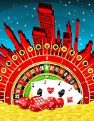 stock photo of dice  - Abstract gambling city with roulette - JPG