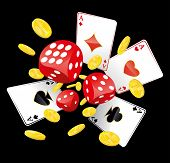 image of golden coin  - Gambling illustration with red playing dices - JPG